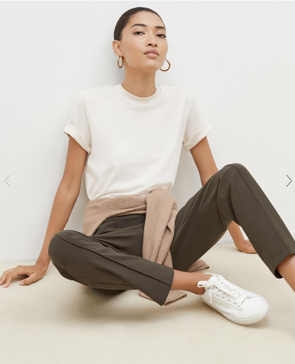 The Best Suit For Women: The Leslie T-Shirt—Compact Cotton - Ivory