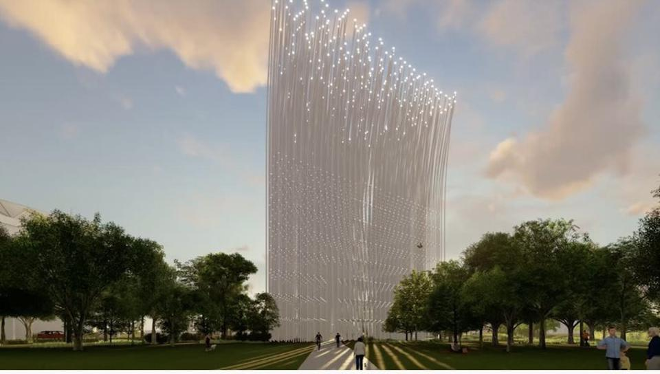 Artist rendering for 'Breeze of Innovation' monument by SMAR Architecture Studio in San Jose.