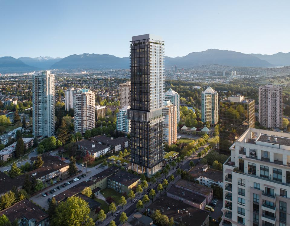 An aerial rendering of Central Park House in Burnaby, part of Metro Vancouver.