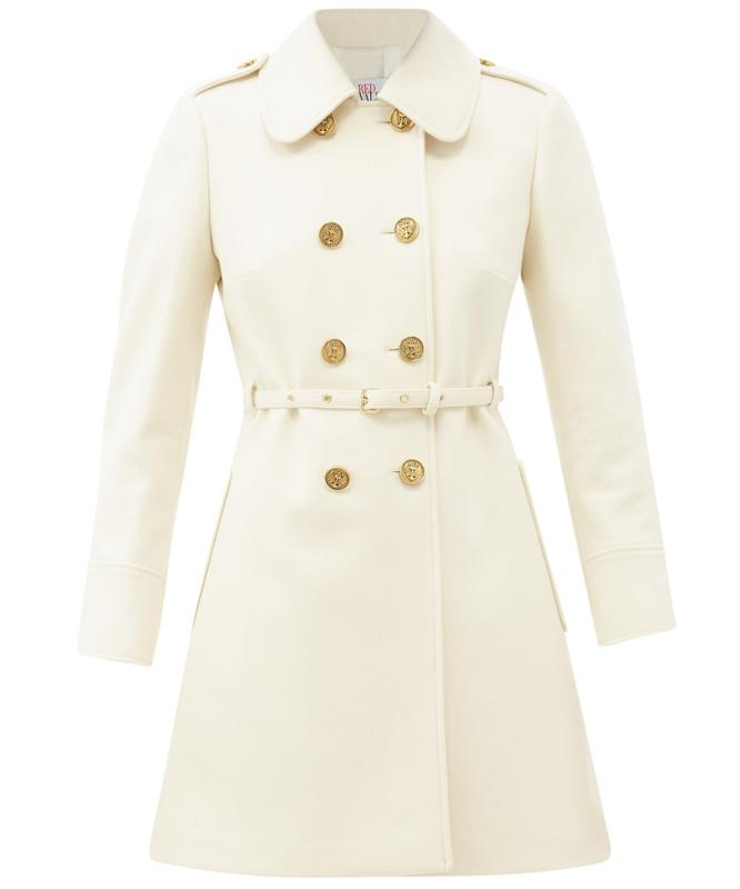 Belted Double-Breasted Wool-Blend Coat by REDValentino: