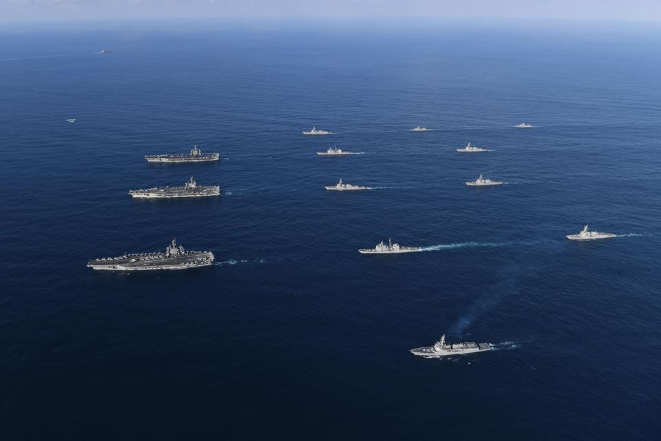 Three U.S. Aircraft Carriers Train in East Sea