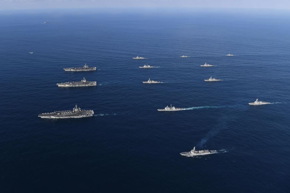 Three U.S. Aircraft Carriers Train in East Sea