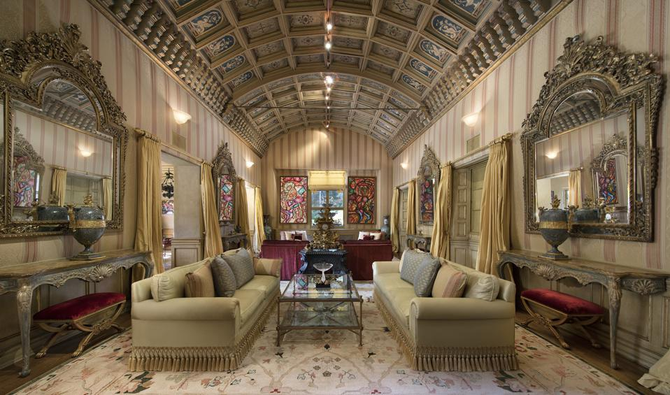 carved details and arched ceilings hearst estate in beverly hills