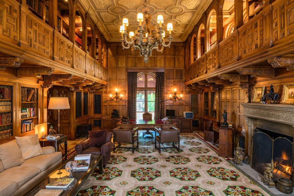 library inside hearst estate in beverly hills