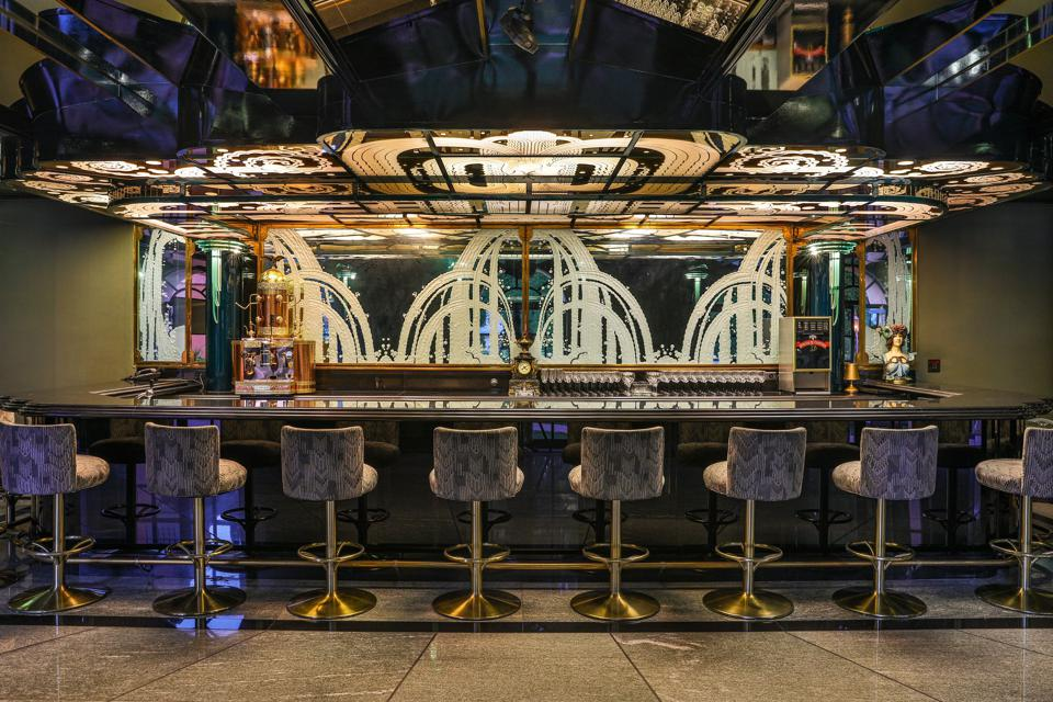 bar inside the hearst estate in beverly hills