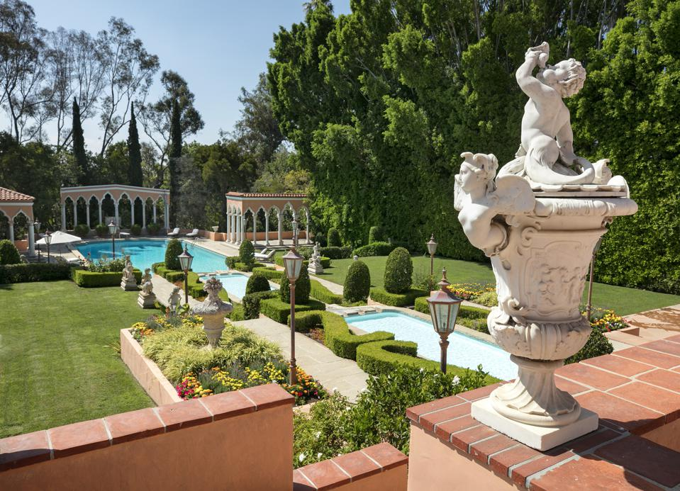 gardens and pool at the hearst estate in beverly hills