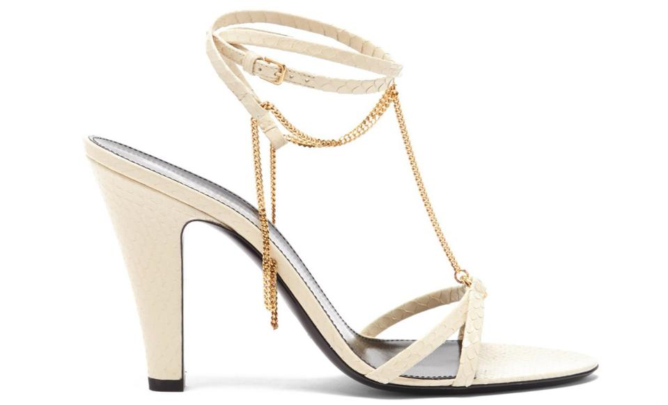 Sue Chain-Embellished Leather Sandals by Saint Laurent