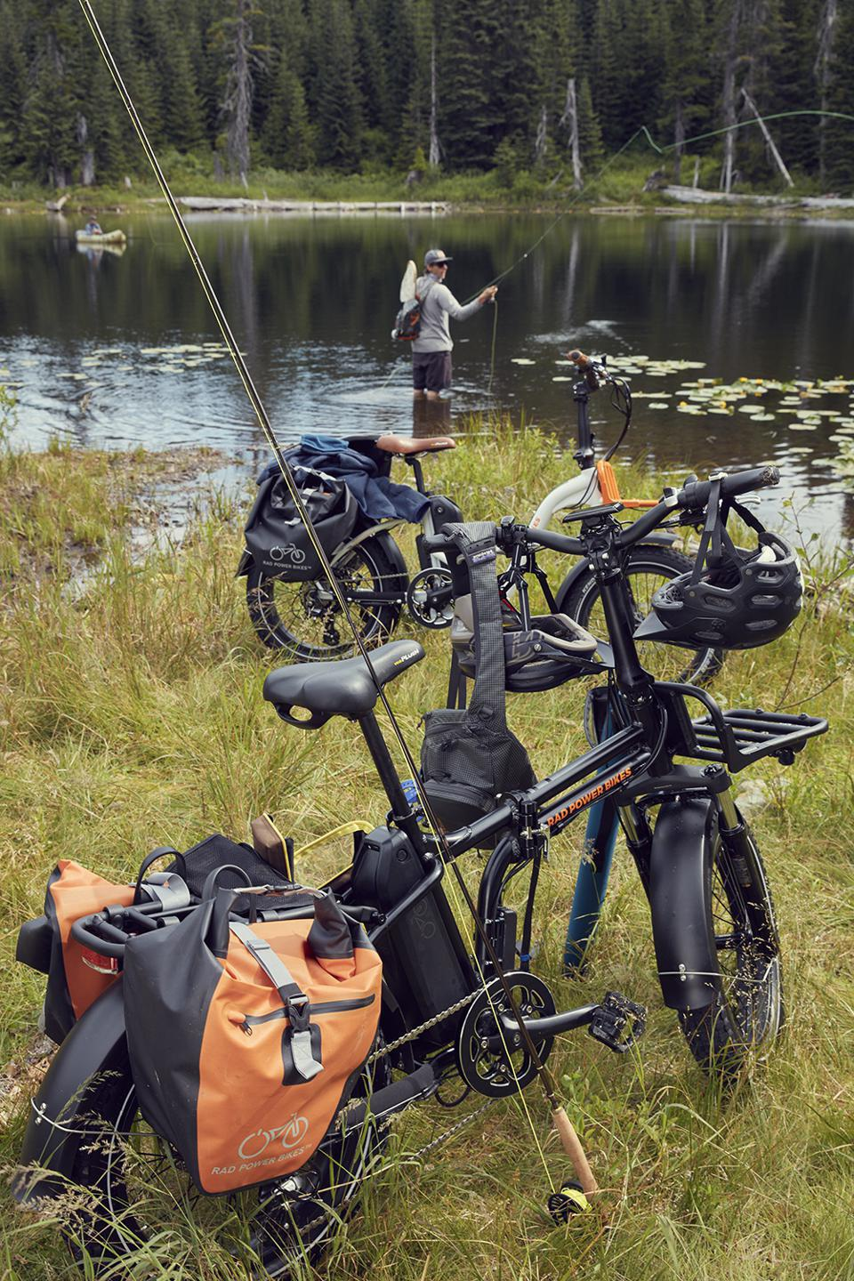 Electric bikes loaded with fishing gear.