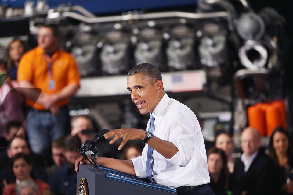 President Obama Discusses Economy At GE Plant In Wisconsin
