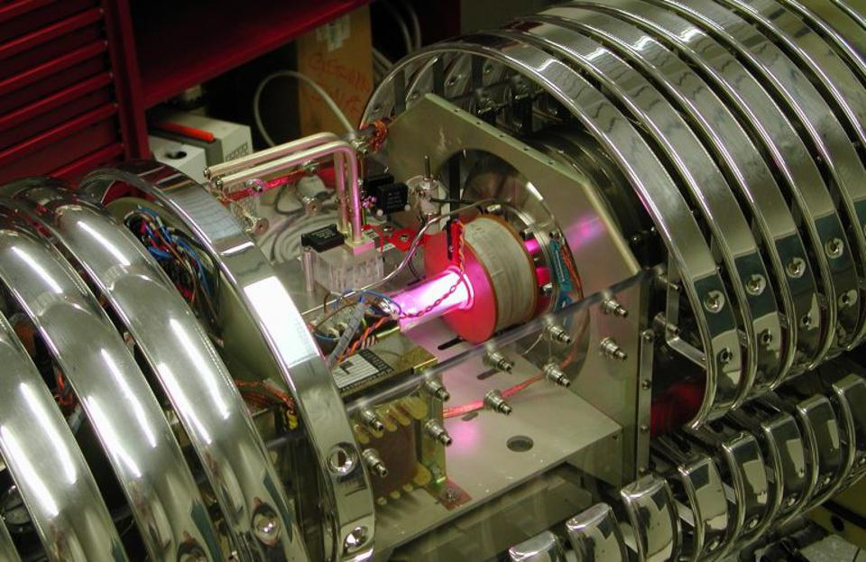 Here, a proton beam is shot at a deuterium target in the LUNA experiment.