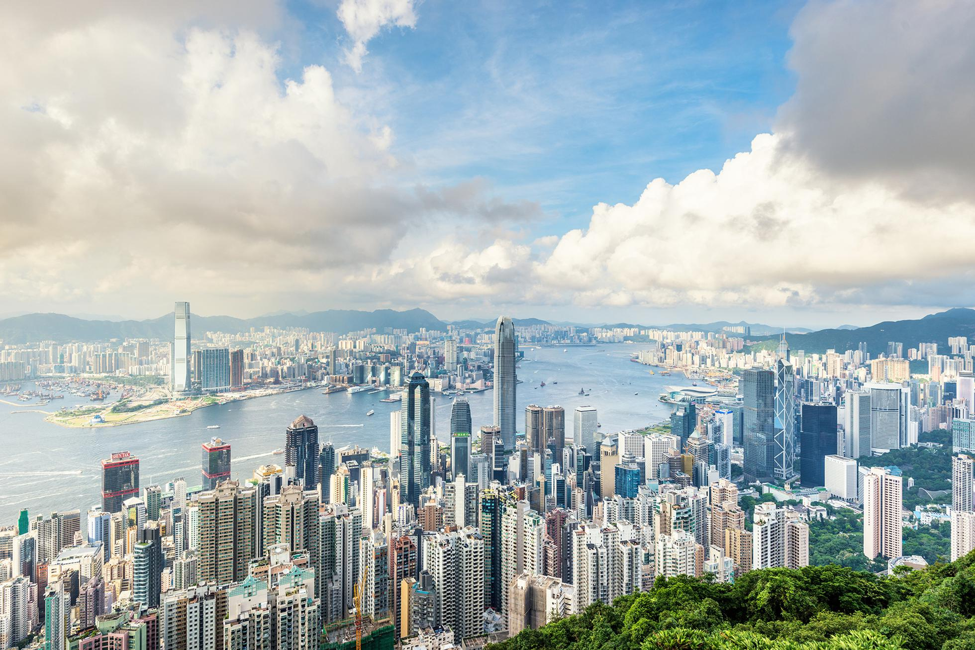 Skyline of Hong kong with cloudscape