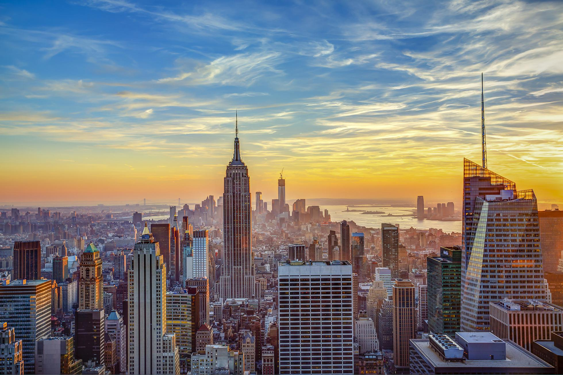 Aerial view of city, New York, New York State, USA
