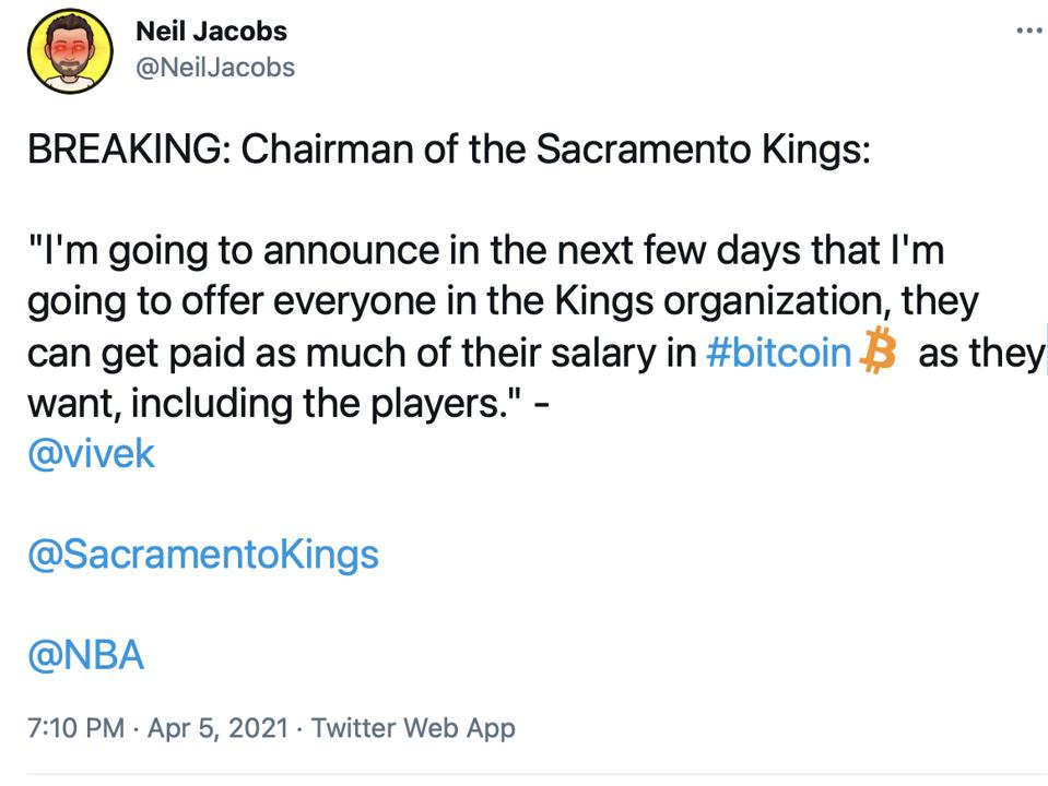 Vivek Ranadivé he would offer employees of the Sacramento Kings to be paid in Bitcoin.