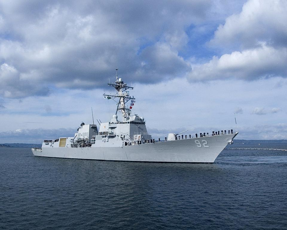 Arleigh Burke-class destroyer at sea.
