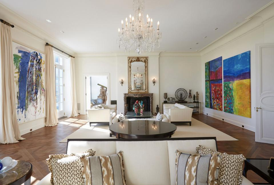 Expansive walls allow for art collection to be on display