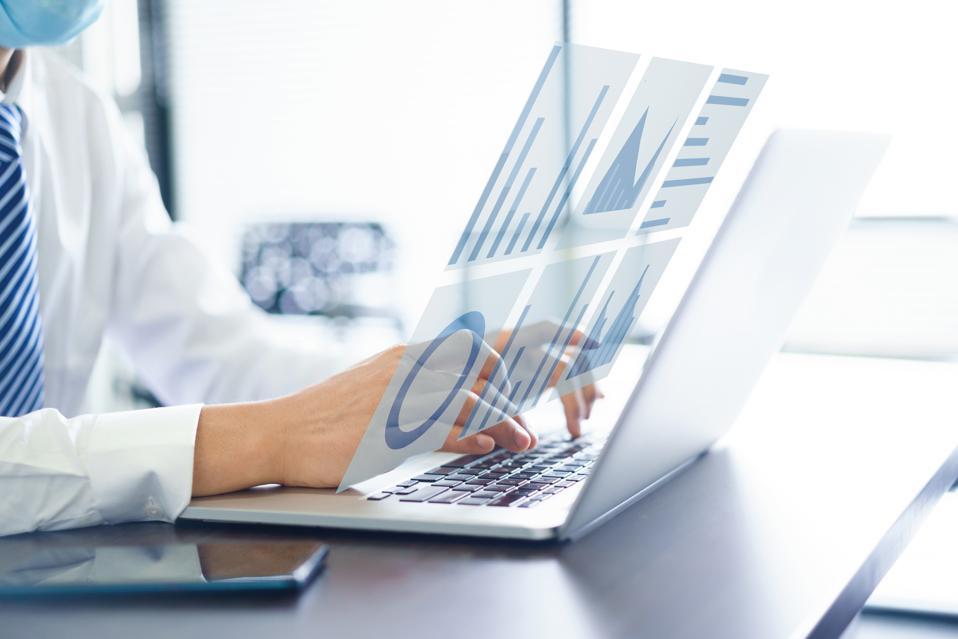 Businessman using virtual visual screen