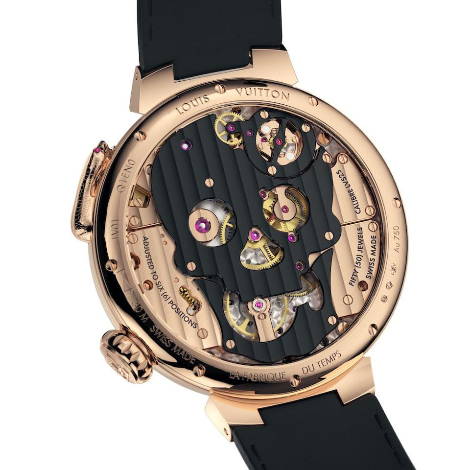 The visible caliber of the Tambour Carpe Diem watch by Louis Vuitton