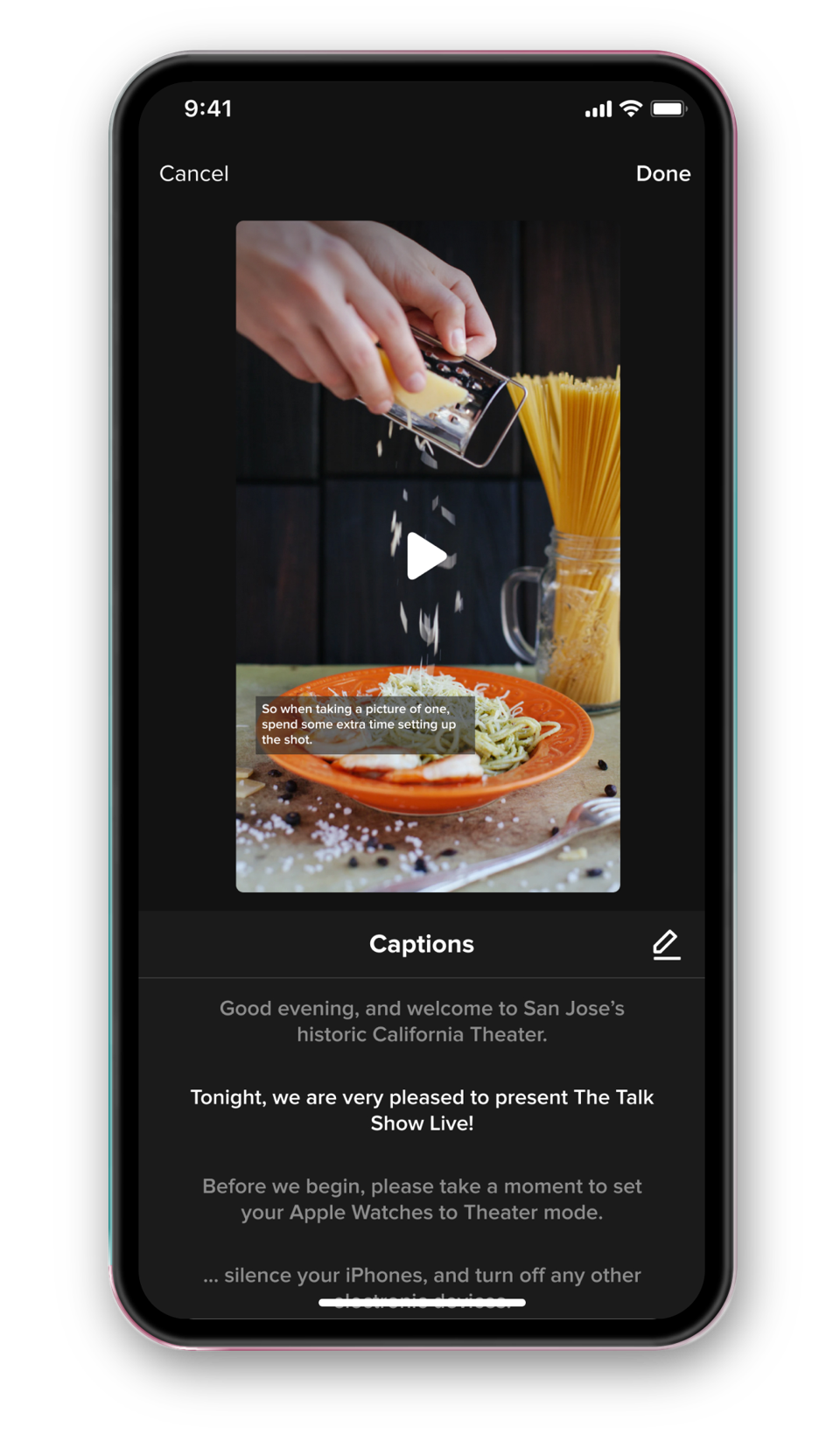Iphone screenshot of captions preview in the app's editing UI.