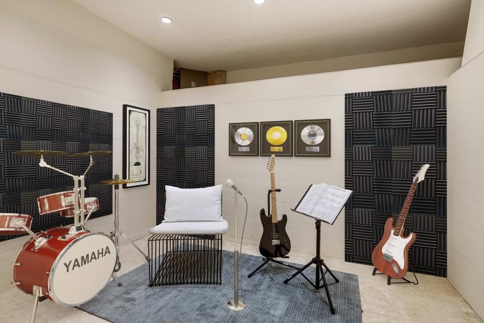 A music room located in the hidden room on the lower level.