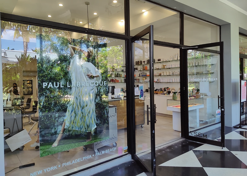 Exterior of Paul Labrecque's chic salon at Royal Poinciana Plaza