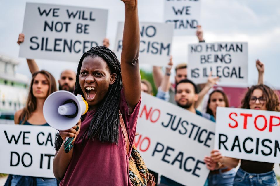 People on strike against racism