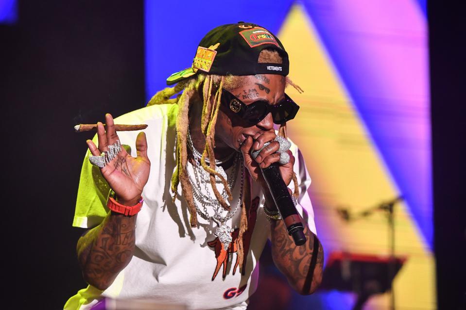 Lil Wayne onstage at Lil Weezyana 2019.
