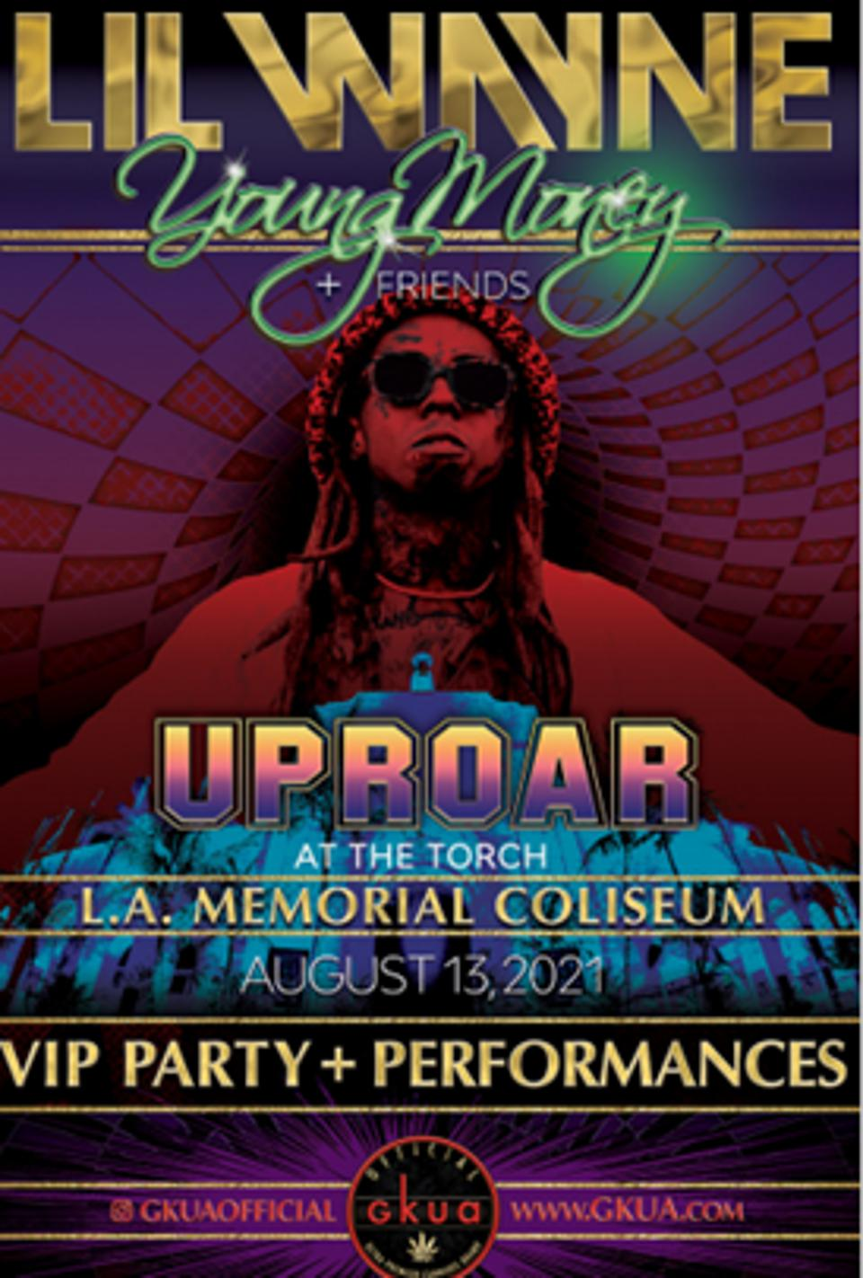 A concert poster for Uproar at the Torch is slated for August 13, 2021 at the L.A. Coliseum.