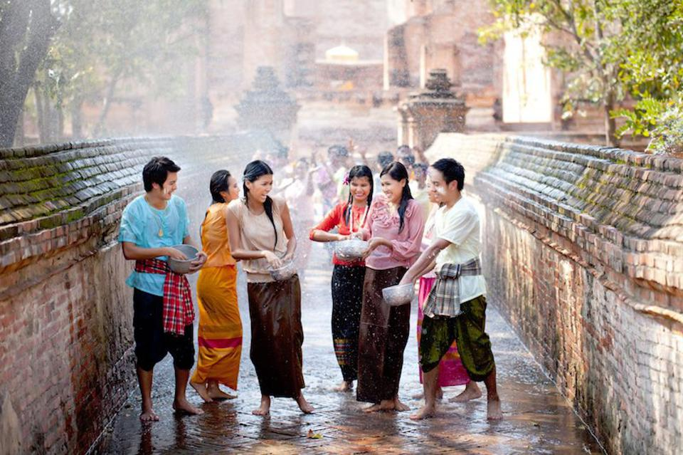 During Songkran, Thais splash water around as a symbol of cleansing away the past year's strife