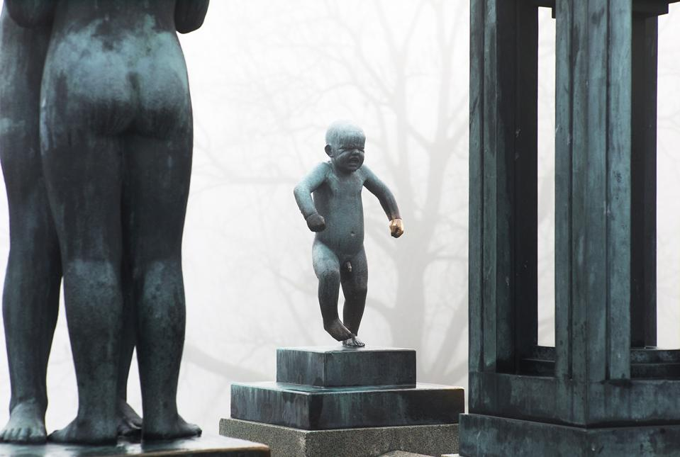 The world-famous Angry Boy sculpture in Vigeland Park, Norway