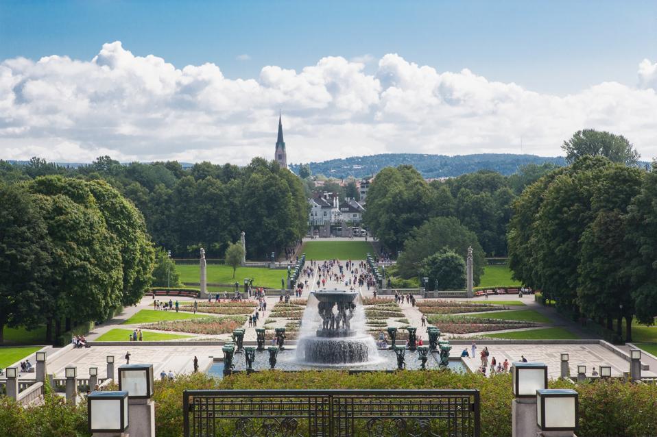 Aerial view of Vigeland sculpture Park in Oslo, Norway
