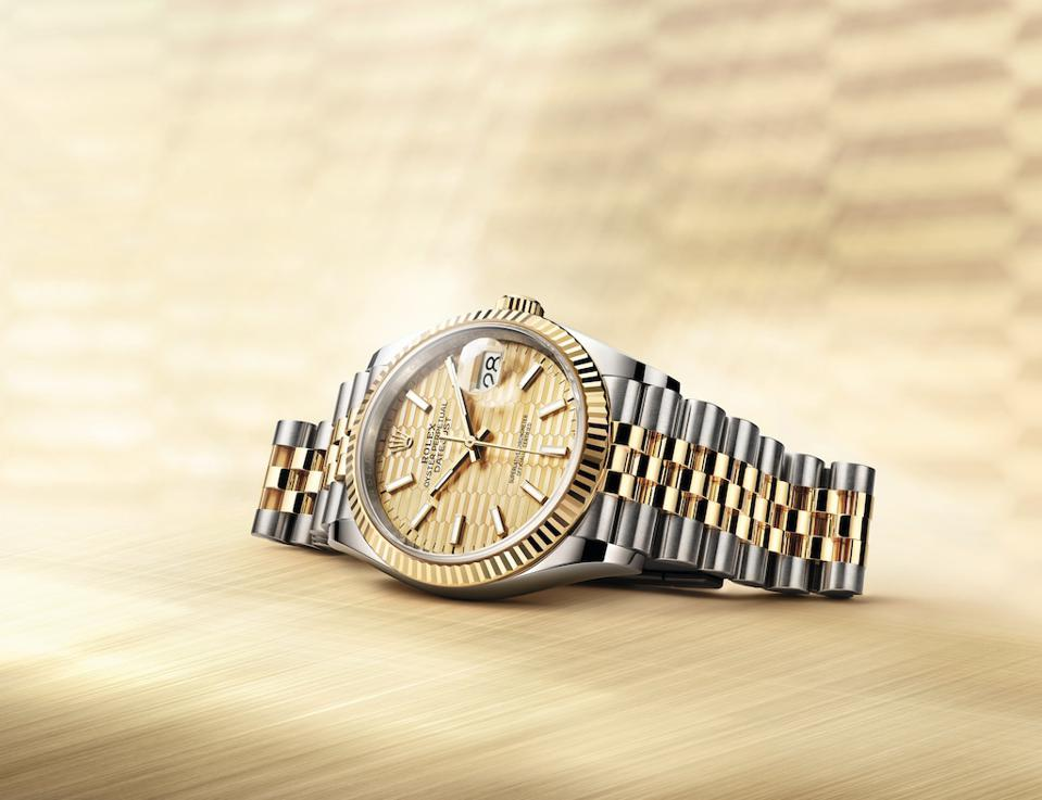 The fluted dial is inspired by its iconic fluted bezel