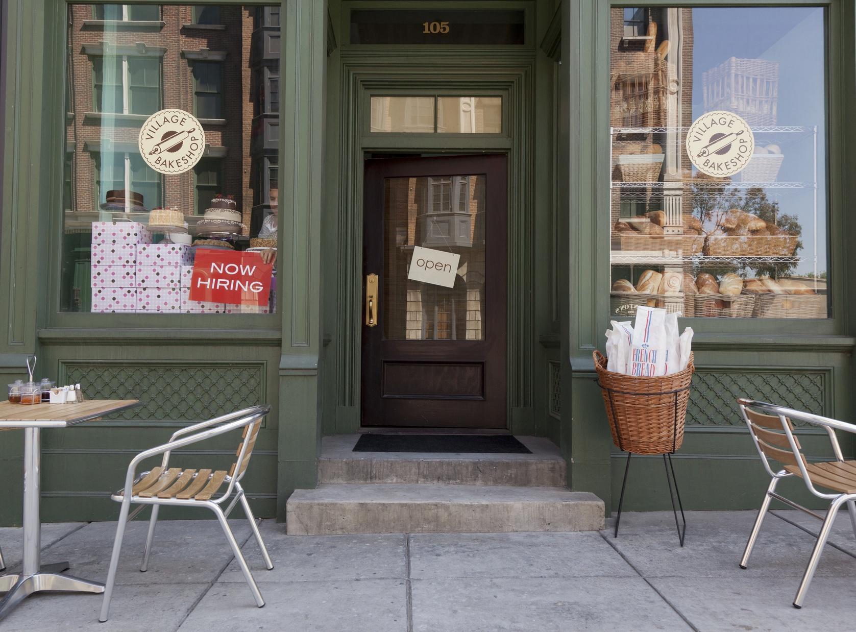 Storefront door and window display
