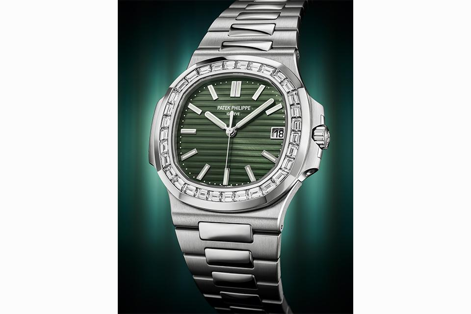 The new olive-green dial also comes with a diamond-set bezel