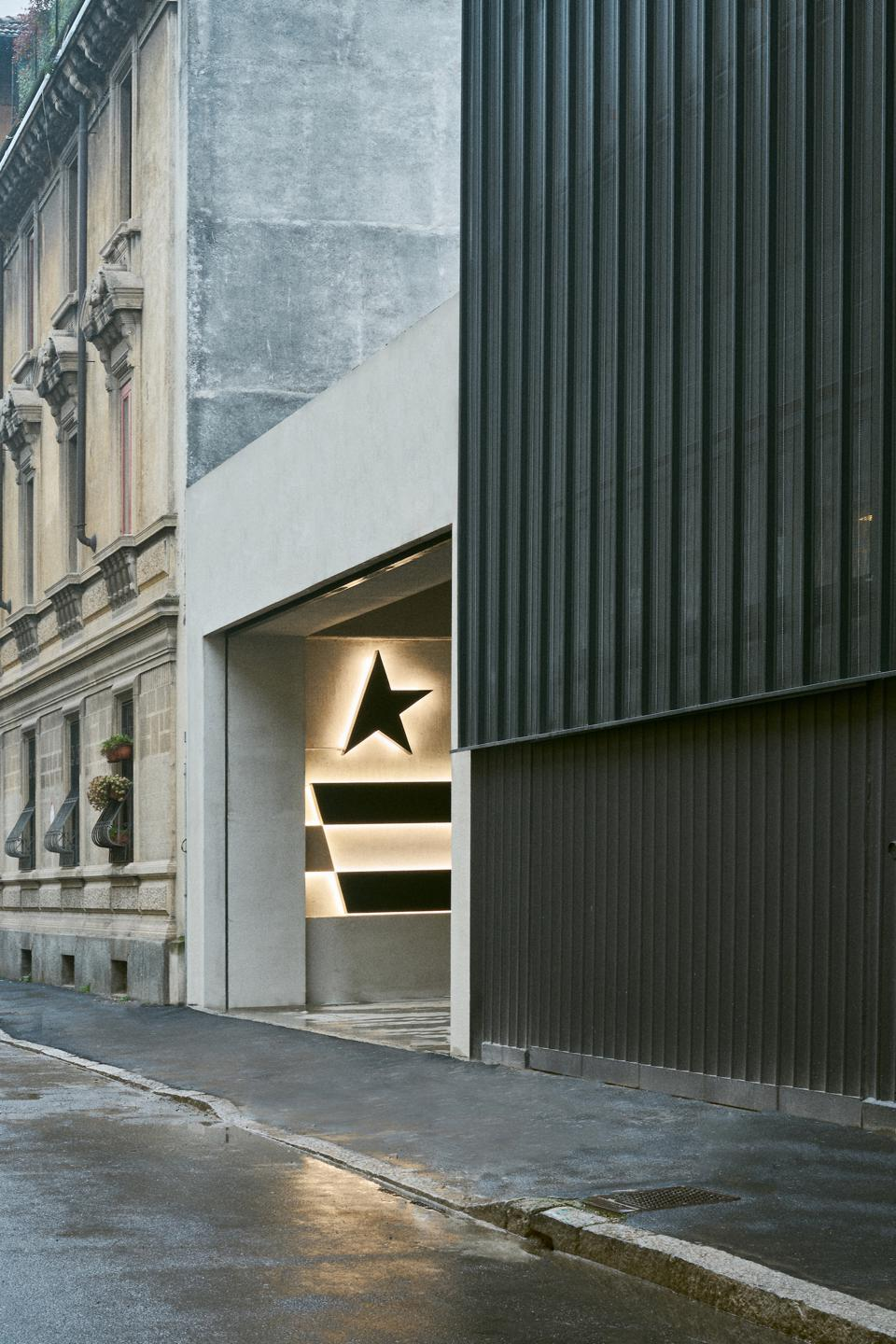 The entrance to the new Golden Goose headquarters in Milan