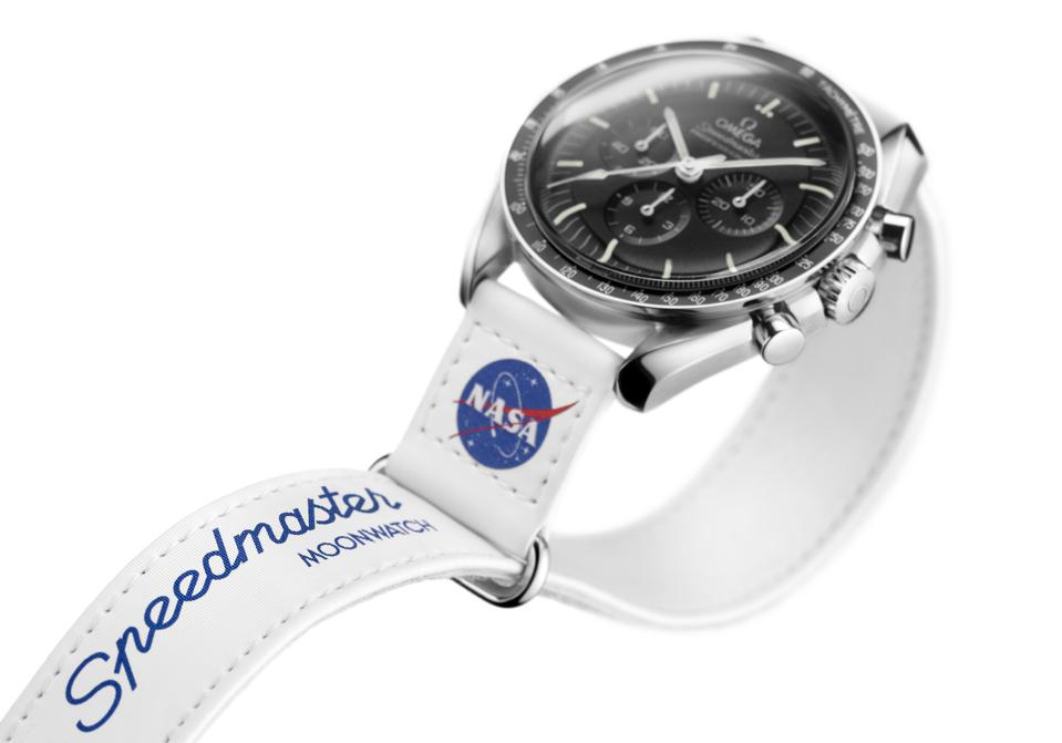 An Omega Moonwatch with a new NASA-approved velcro strap.