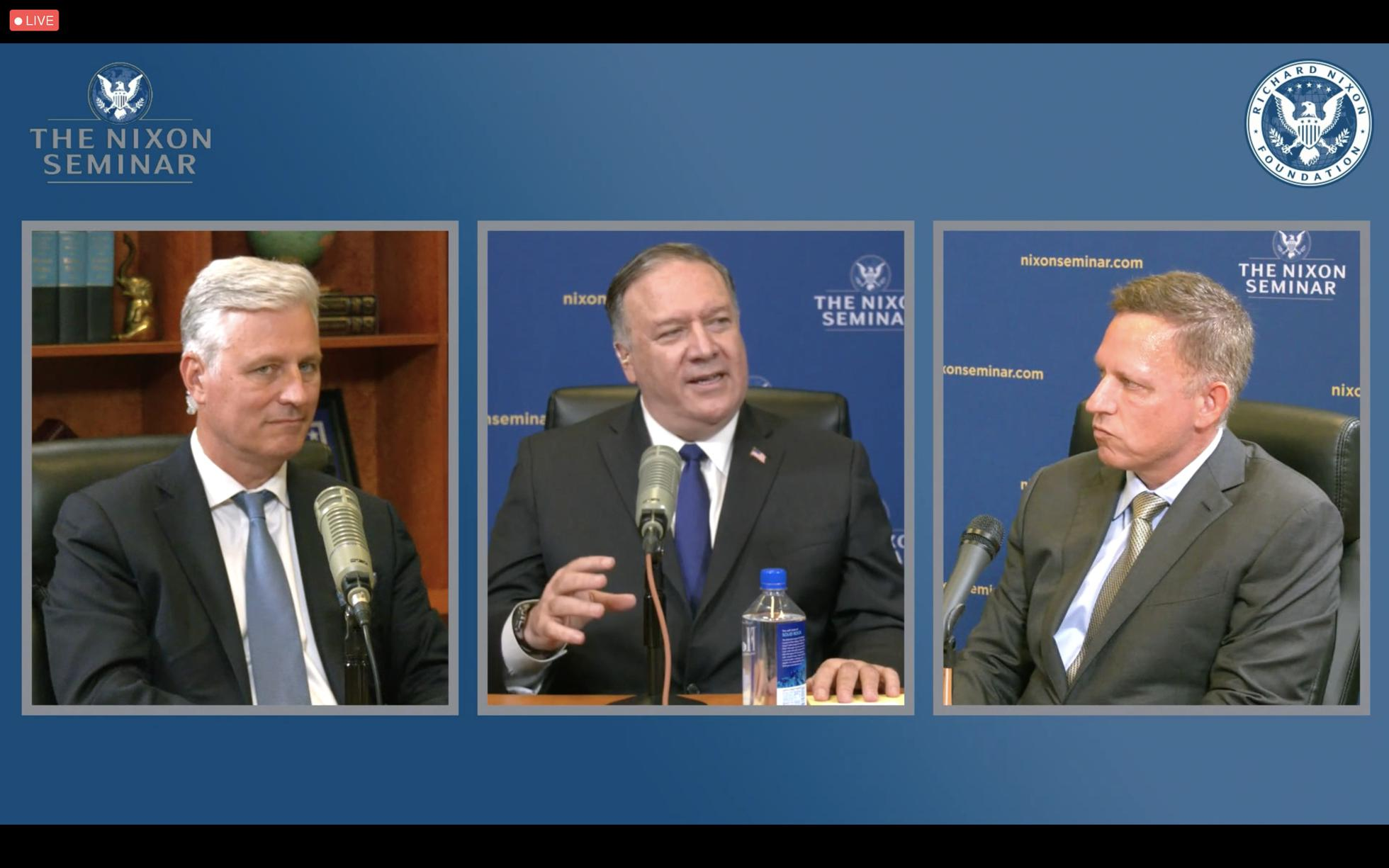 Robert C. O'Brien, Mike Pompeo and Peter Thiel.