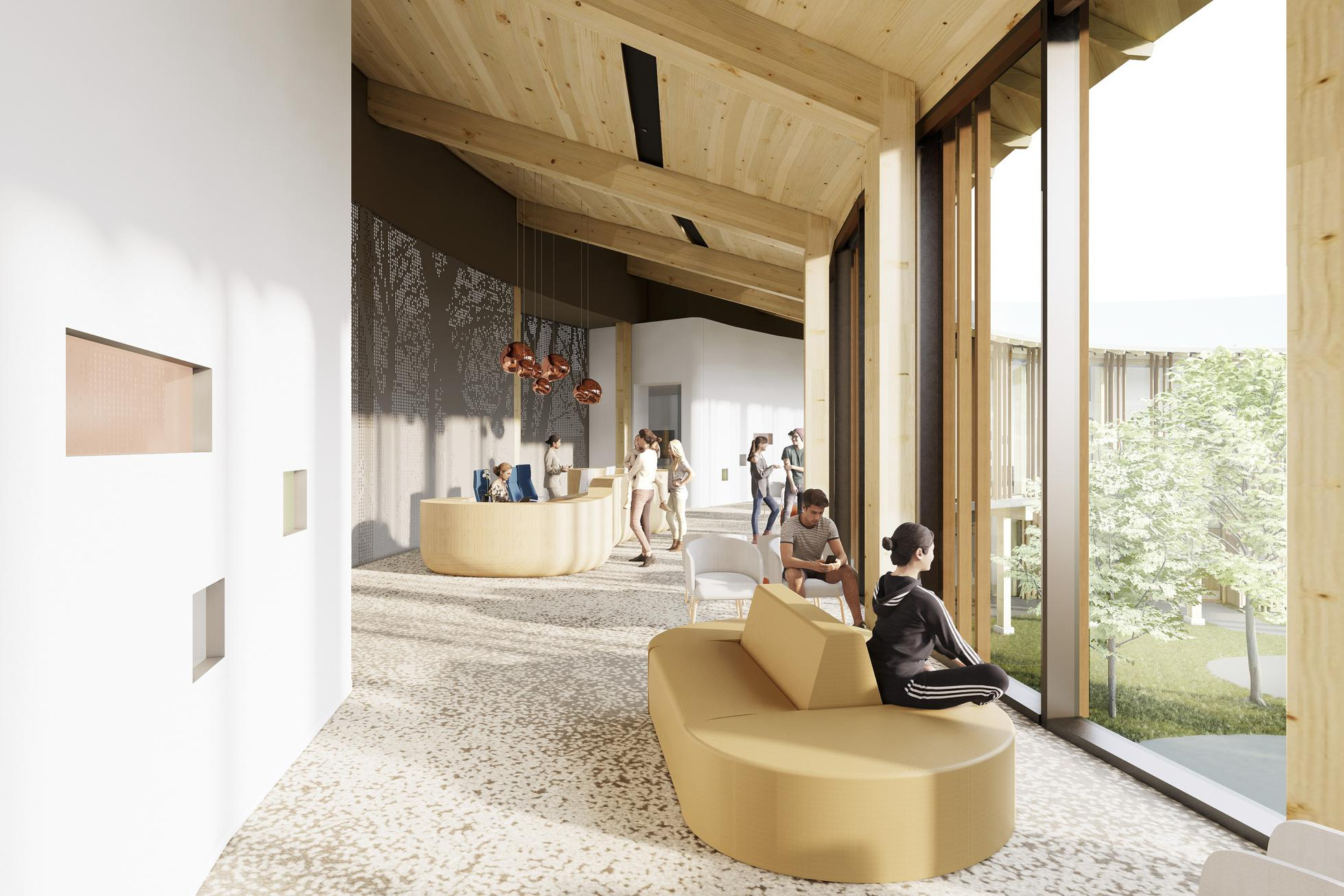 Design for the outpatient lobby at Ohana pediatric behavioral health center in Monterey, California.