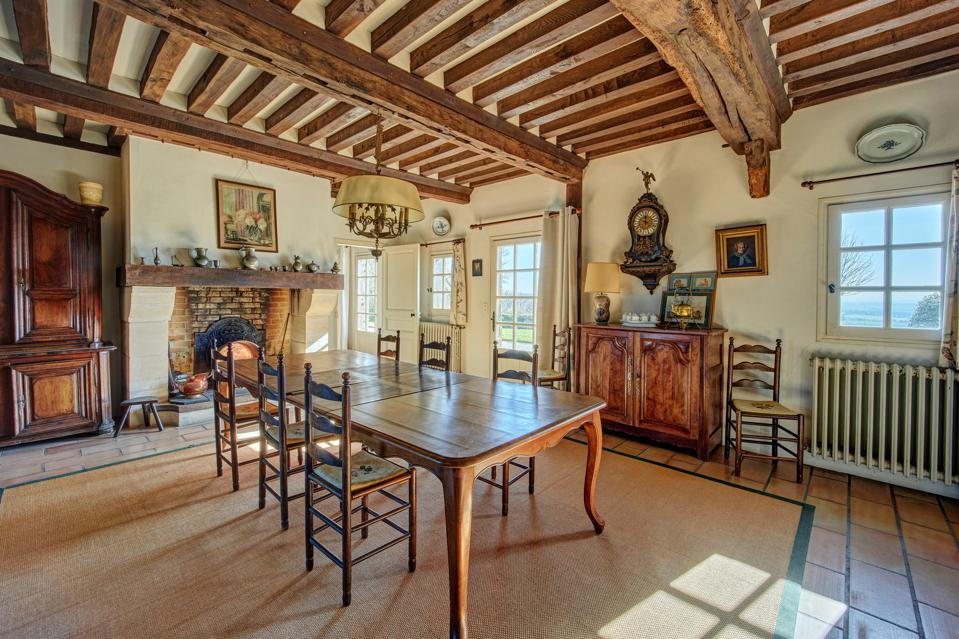 dining room in a french farmhouse in cabourg normandy france