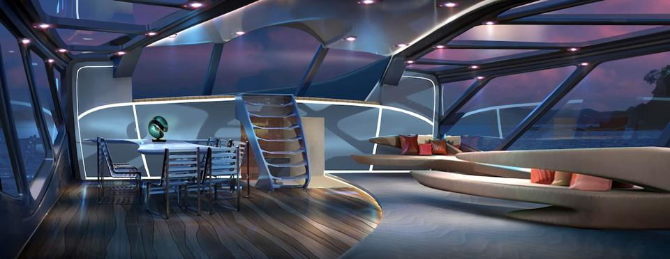 The groundbreaking interior of the radical new EXO sailing superyacht concept