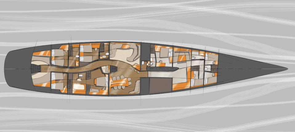 The interior of he EXO sailing superyacht concept from Claydon Reeves/Dykstra Naval Architects is designed to be different.