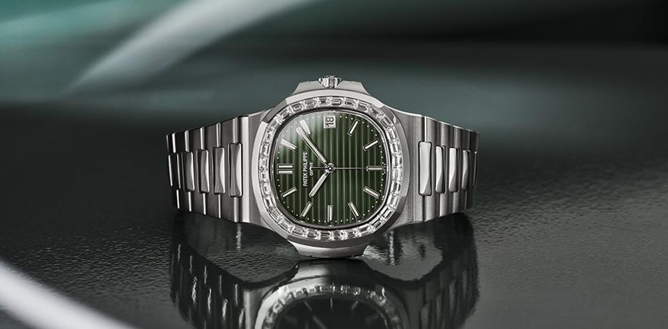 The baguette diamond bezel version of the new Patek Philippe Nautilus.