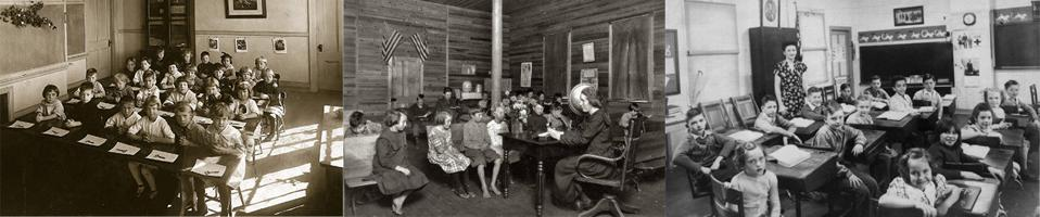 Scenes from 19th century public school classrooms