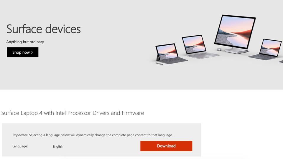 Página web de soporte de Microsoft para controladores Surface Laptop 4.