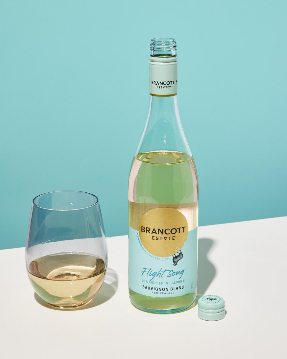 Bottle and glass of Brancott Estate Flight Song Sauvignon Blanc