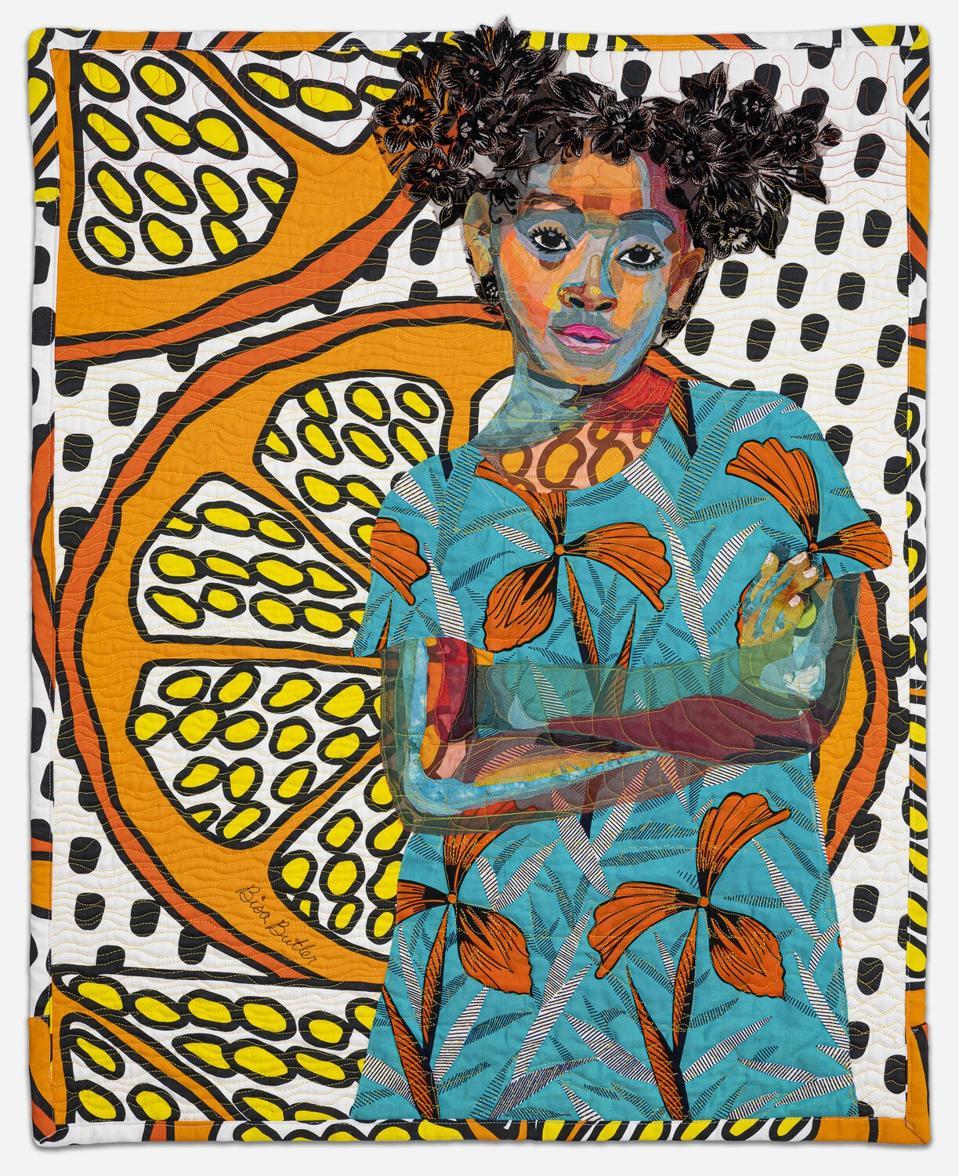 Bisa Butler. Anaya with Oranges, 2017. Dimmitt Davies Collection. © Bisa Butler. Photo by Margaret Fox.