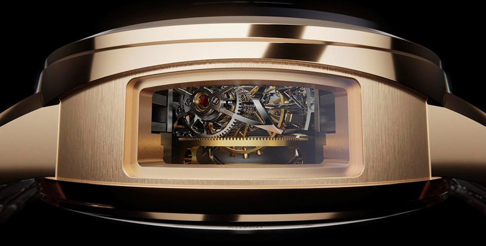 The open case side allows you to view the spherical hairspring and double-axis tourbillon.