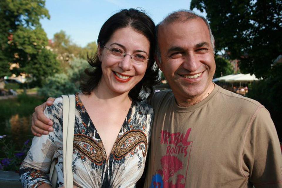 Kamran Ghaderi pictured with his wife Harika before he was arrested in Iran in January 2016.
