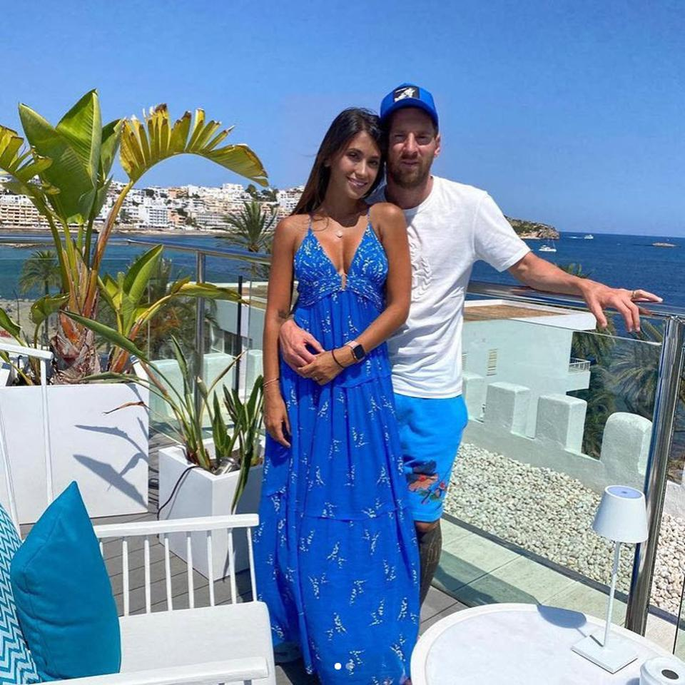 Lionel Messi and his wife Antonela Roccuzzo at his MiM Hotel in Sitges