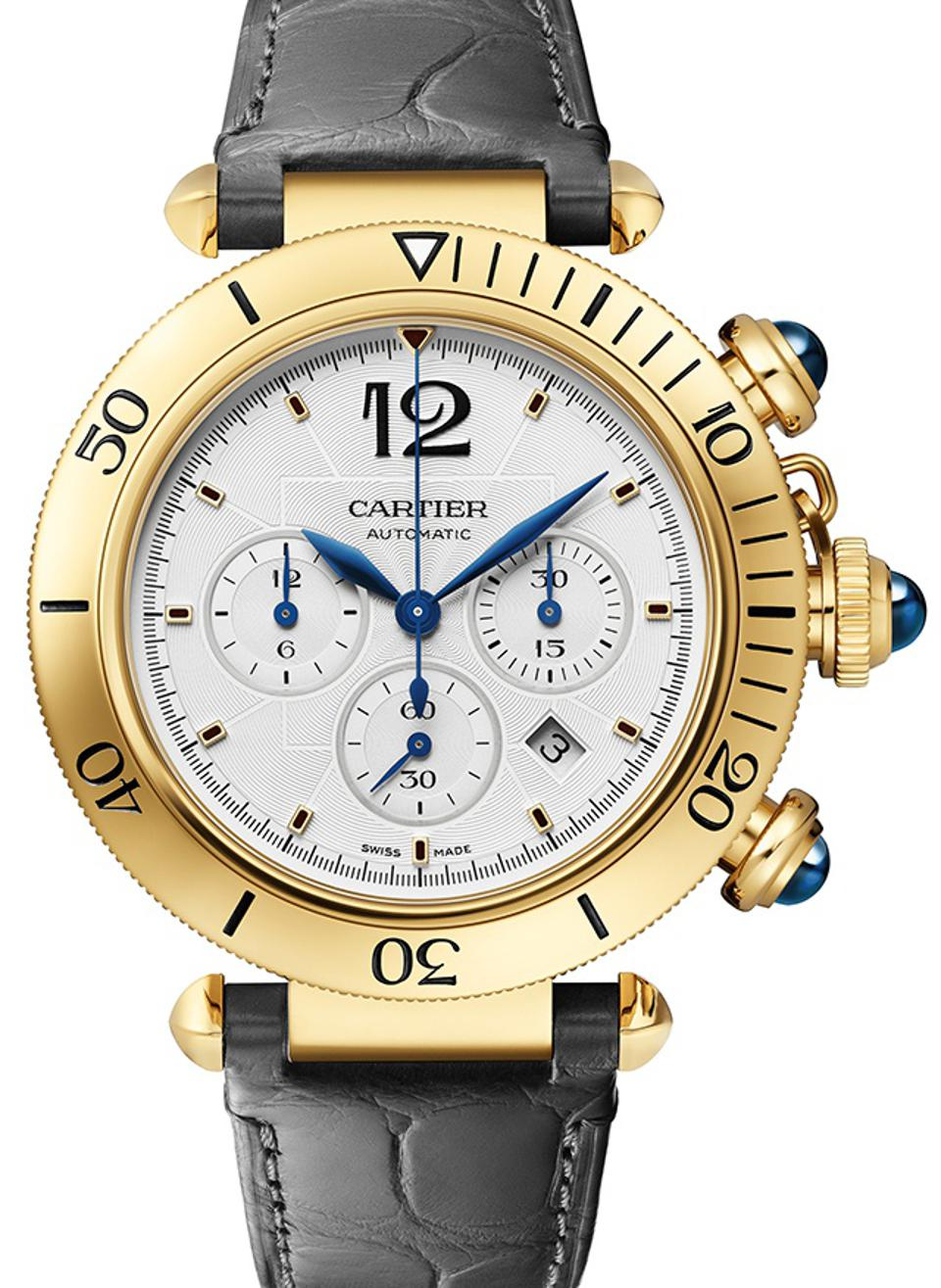 The new Cartier Pasha chronograph in gold.