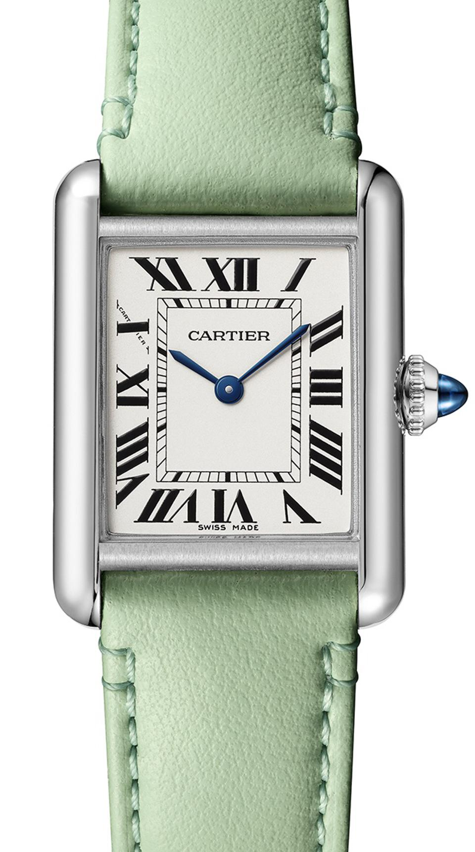 One of the many new colored bracelets for the Cartier Tank Must.